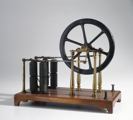 Electromagnetic engine model, c 1840.