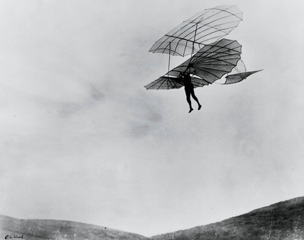 Otto Lilienthal, aviation pioneer, during one of his last flights, 1896.