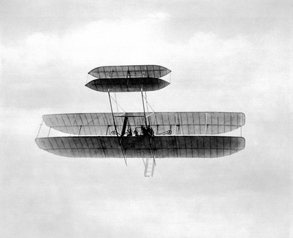 Orville Wright  flying the first Signal Corps Army aeroplane, USA, 1908.