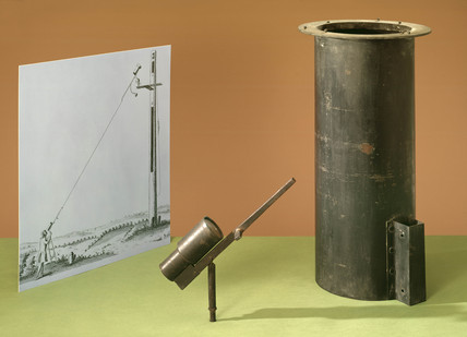 Items relating to Christian Huygens' aerial telescope, late 17th century.
