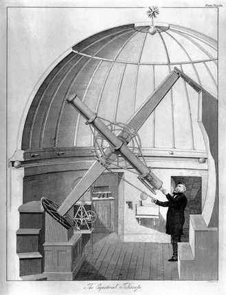 Refracting telescope on observatory mounting, 1829.