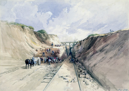 Digging a cutting on the Great Western Railway, 1841.