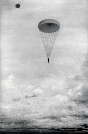 Baldwin's free parachute descent, Alexandra Palace, London, c 1888.