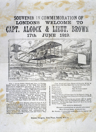 Alcock and Brown's pioneering transatlantic flight, 17 June 1919.