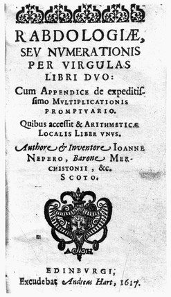 Title page of Napier's 'Rabdologiae', 1617.