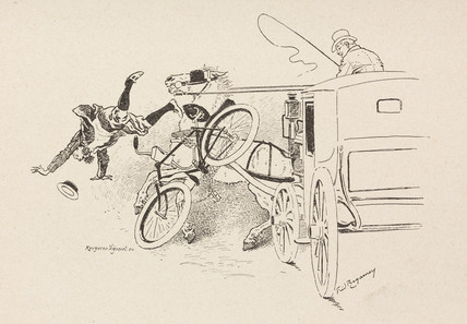 Accident involving a cyclist and a horse-drawn vehicle, 1898.
