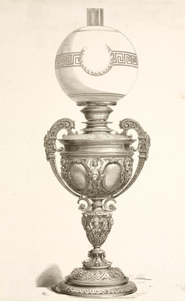 Lamp, probably French, c 1860.