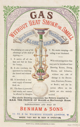 Leaflet advertising gas lights by Benham & Sons, 19th century.