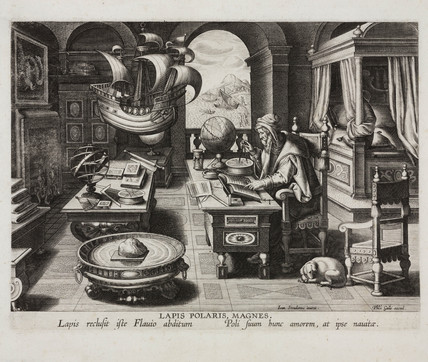Philosopher in his chamber studying a lodestone, Antwerp, c 1580  at