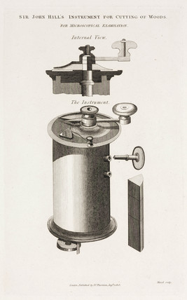 Wood-cutting instrument for preparing microscopical specimens, 1808.