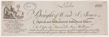 Trade card of W & S Jones, optical and mathematical instrument makers, 1828.