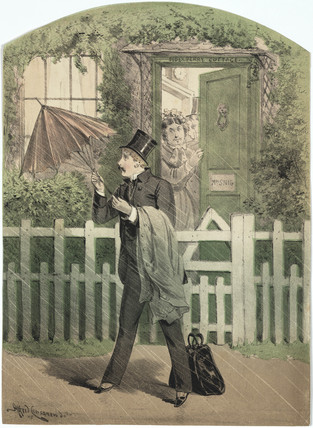 A man in a top hat and suit opening an umbrella outside a cottage, 19th century.