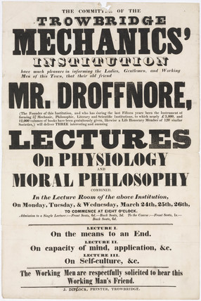 Advertisement  for lectures on physiology and moral philsophy, 24-26 March 1851.