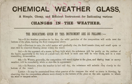 Description of a chemical weather glas, 19th century.