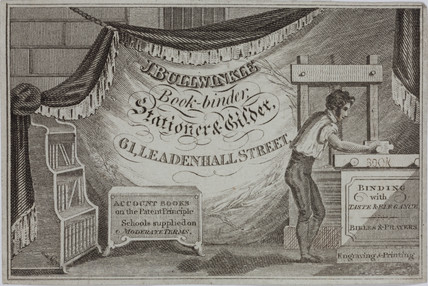 Trade card for J Bullwinkle, bookbinder, stationer and gilder, early 19th century.