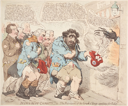 'Blue & Buff Charity' or 'The Patriarch of the Greek Clergy applying for Relief', 1793.