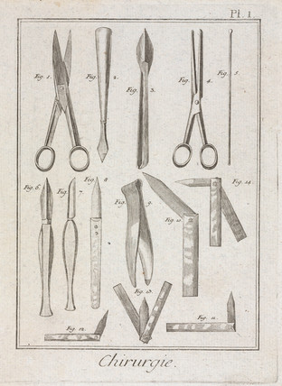 Surgical instruments, 1780.