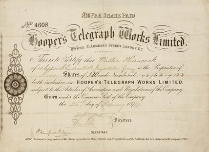 Share certificate for Hooper's Telegraph Works Ltd, 1874.