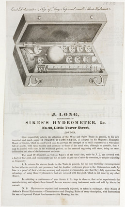 Advertisement for Sikes's Hydrometer, 19th century.
