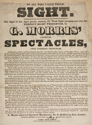 Trade card of G Morris, optician, 19th century.