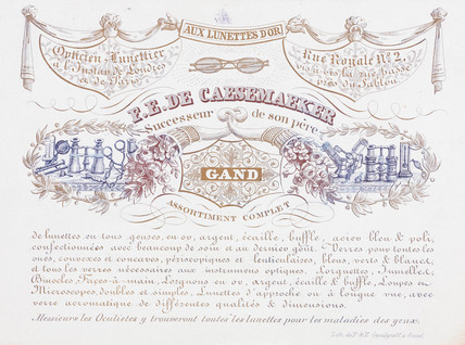 Trade card of F E De Caesemaeker, optician, 19th century.
