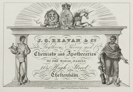 Trade card of J G Beaven & Co, chemists and apothecaries, c 1800s.