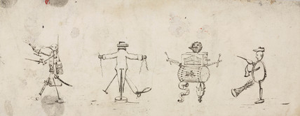 Personifications of a soldier, tailor, musician and cobbler/cooper, c 1830.