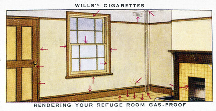 'Rendering Your Refuge Room Gas- Proof', Wills cigarette card, 1938.