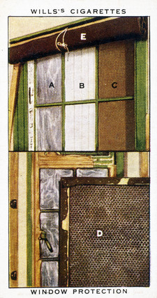 'Window Protection', Wills cigarette card, 1938.