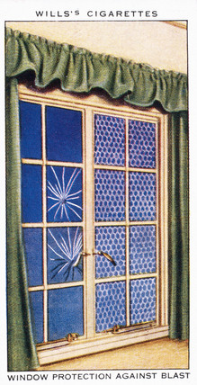 'Window Protection Against Blast', Wills cigarette card, 1938.