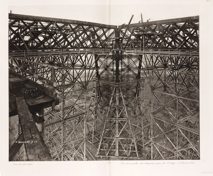 Scaffolding, construction of the Eiffel Tower, Paris, 14 January 1888.