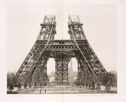 Erection of the pillars below the first level, Eiffel Tower, Paris, 15 May 1888.