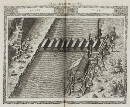 Floating bridge made from hexagonal sections, 1588.