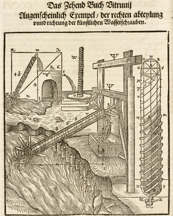Archimedes' screw, 1548.
