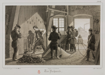 Pounding the ore, Germany, c 1851.
