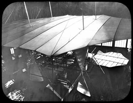 Looking down on Maxim's partially assembled flying machine, 1894.
