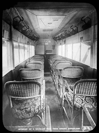 Interior of a Handley Page twin engine aeroplane, c 1920s.