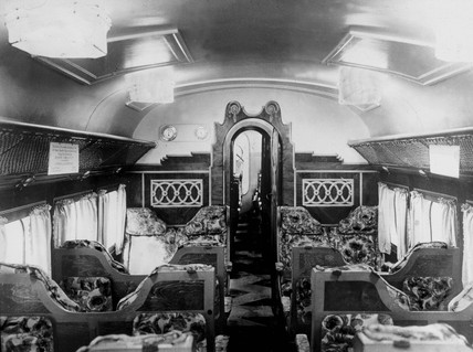 Interior of a passenger aeroplane, showing passenger seats, c 1930s.