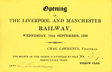 Ticket for the opening day of the Liverpool & Manchester Railway, 1830.