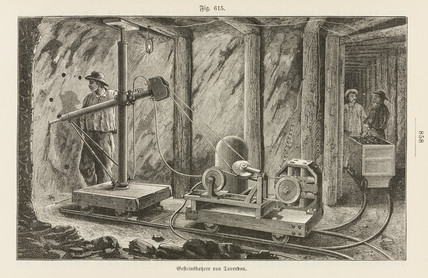 Taverdon's electric rock-borer, 1885.