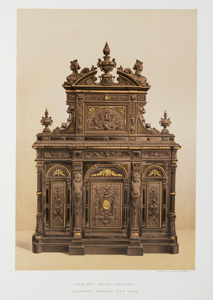 Carved wood cabinet, USA, 1876.