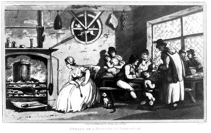 'Inside of a kitchen at Newcastle', 1800.