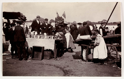 Stall at a fairground, c 1898.