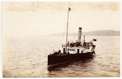 Steam paddle ship, c 1906.