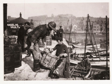 Unloading fish at Whitby Harbour, c 1905.