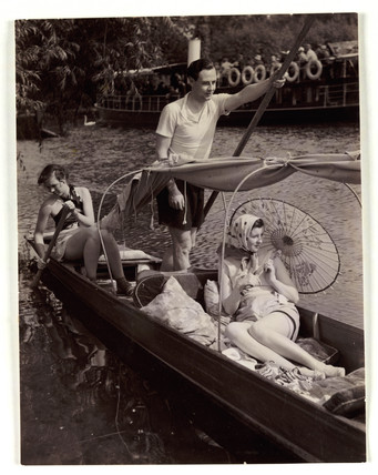 Punting on the river, c 1930.