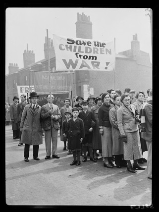 Anti-war demonstration, London, May 1936.