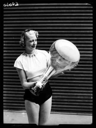 Woman with a cathode ray tube, Radiolympia, London, 1936.