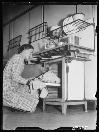 Cooking the turkey, 1937.