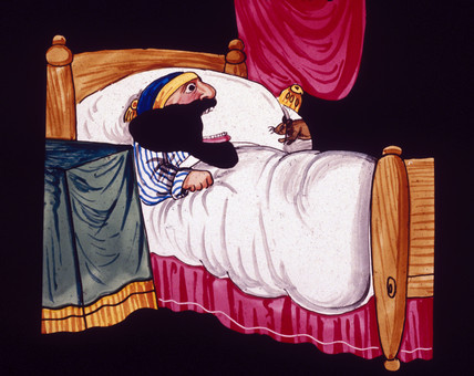 Bearded man in bed, and a mouse, mid 19th century.
